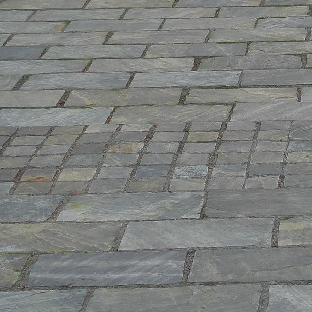 sten og chaussesten i Sandstone Dark, sandsten i indkørslen