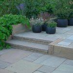 Olive Sandstone, trappe, terrasse og mur